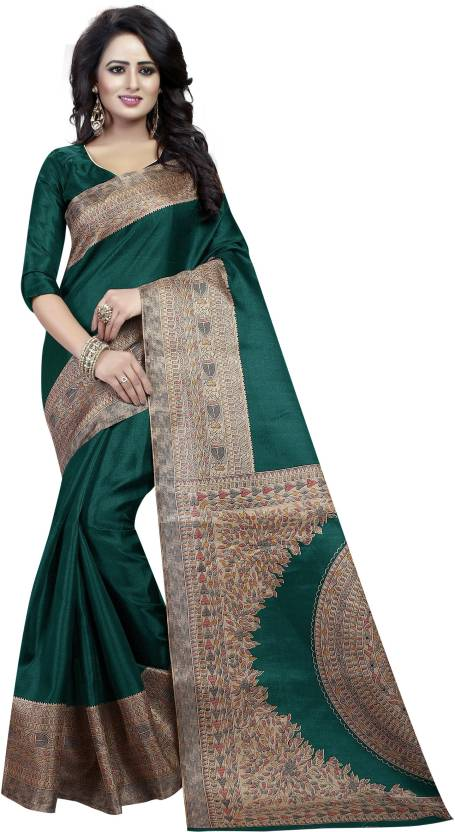 9a3f310bfe Buy C J 129 Printed Kalamkari Cotton Green, Beige Sarees Online ...