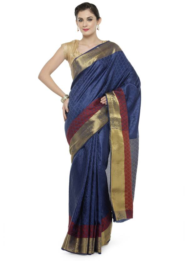 bcf03bfe59 Buy Kvsfab Woven Fashion Cotton Silk Blue, Red Sarees Online @ Best ...