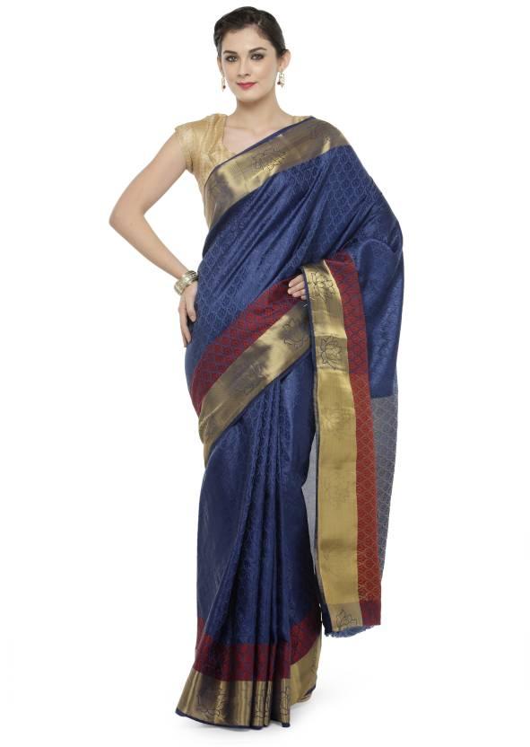bcf03bfe59 Buy Kvsfab Woven Fashion Cotton Silk Blue, Red Sarees Online @ Best ...