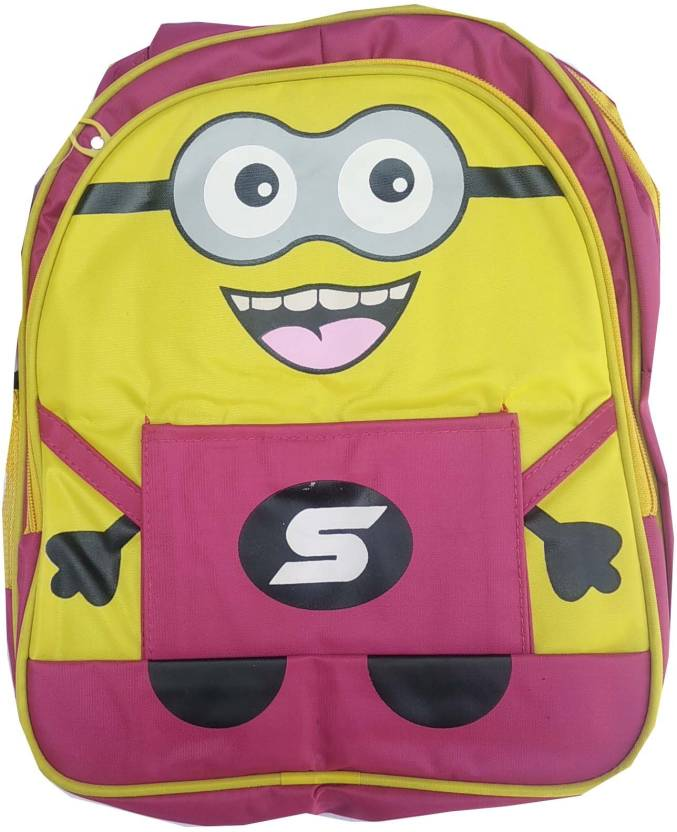 6fb7092bf4d Minion School Bag For Kids 2 Zipper with 1 Side Pocket School Bag (Red, 12  inch)