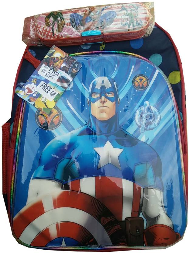 0d773a539a Captain America Premium Quality Marvel school Bag for Kids 18 inch 3 Zipper  and 1 Side