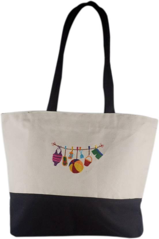 1c43eb7a984d Beach Bag Naviga Collection Cotton Tote Bag Shoulder Bag (Multicolor, 16  inch)