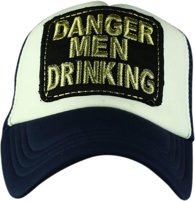 fab0bde612b Spike Me DANGER MEN DRINKING BLUE   WHITE Half Mesh Trucker Cap with Adjustable  Snap Cap