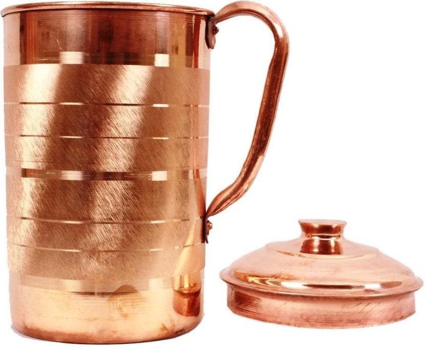 100/% Copper Water Pitcher Indian Handmade Water Jug Mug Ayurveda Health Benefits