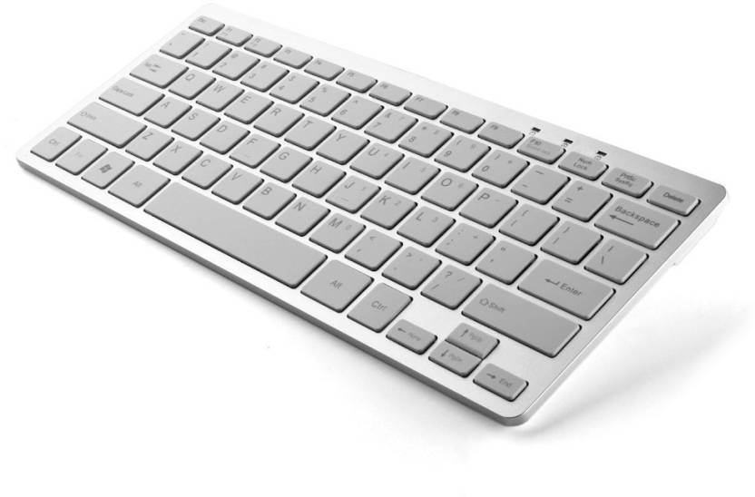 VibeX ® SlimTouch 1200 - 2.4 GHz RF Wireless Stainless Steel Keyboard Wireless, Bluetooth Multi-device Keyboard (White, Silver)