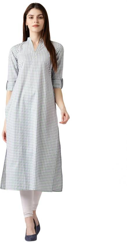 228770b2410 Libas Women Checkered Straight Kurta - Buy Multicolor Libas Women ...