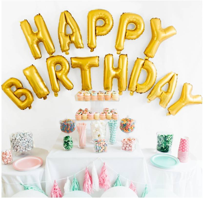 nhr solid happy birthday golden foil letters toy balloon balloon