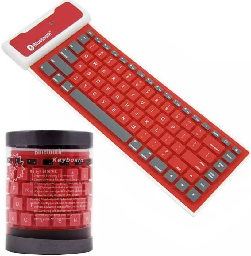 313f44b587f VibeX ™ Portable USB Mini Flexible Silicone PC Keyboard Foldable for Laptop  Notebook Wireless, Bluetooth Multi-device Keyboard (Red)