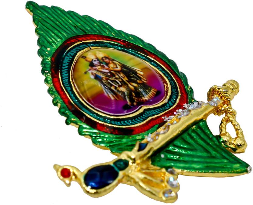 dzinetrendz brass gold plated krishna peacock feather and flute