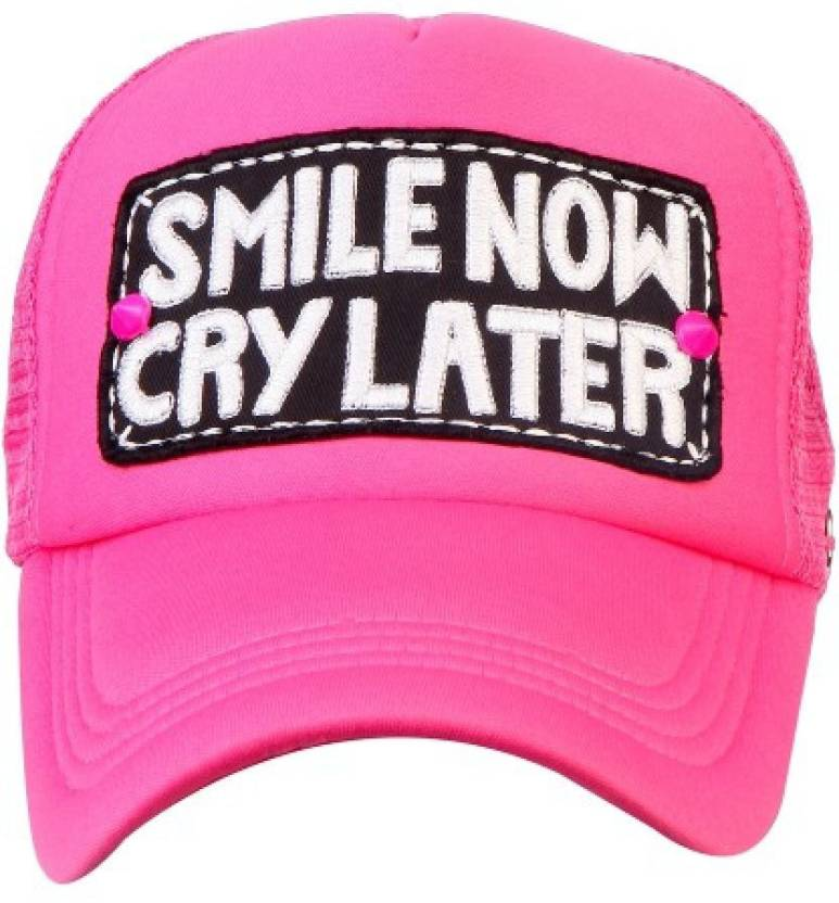 a17da184f8c Spike Me SMILE NOW CRY LATER NEON PINK Half Mesh Trucker Cap with Adjustable  Snap Cap - Buy Spike Me SMILE NOW CRY LATER NEON PINK Half Mesh Trucker Cap  ...