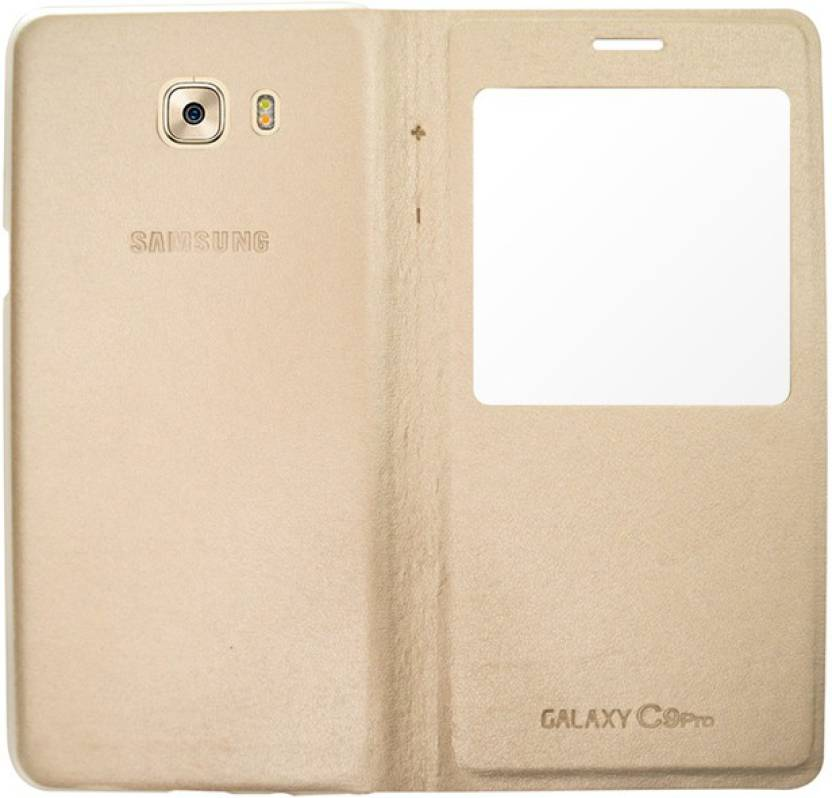 COVERBLACK Flip Cover for Samsung Galaxy C9 Pro Gold