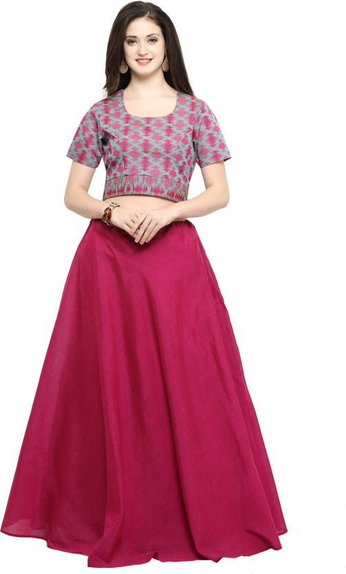 97cc80f4390 Inddus Solid Semi Stitched Lehenga Choli - Buy Inddus Solid Semi ...
