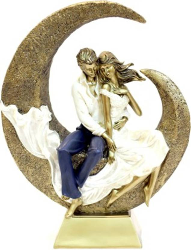 Touch India Valentine Romantic Golden Love Couple Sitting On Moon Statue Home Decoration Gift Item Anniversary Birthday