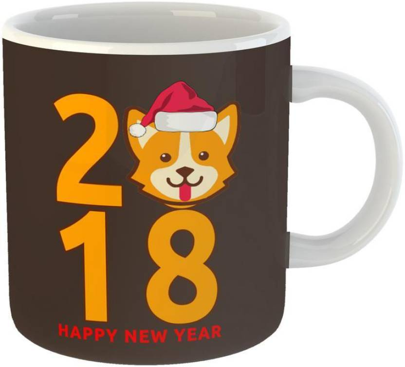 mugs4you happy new year 2018 puppy style coffee with free greeting card for friendsgirlfriend