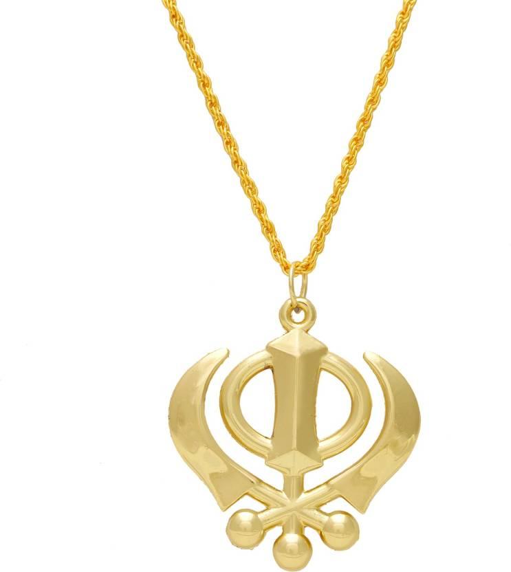 Dzinetrendz High Gloss Brass Sikh Sardar Khalsa Punjabi Khanda