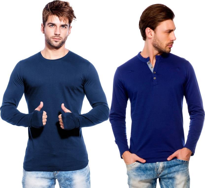 8674e0f6a81 Maniac Solid, Self Design Men's Round Neck Dark Blue, Dark Blue T-Shirt