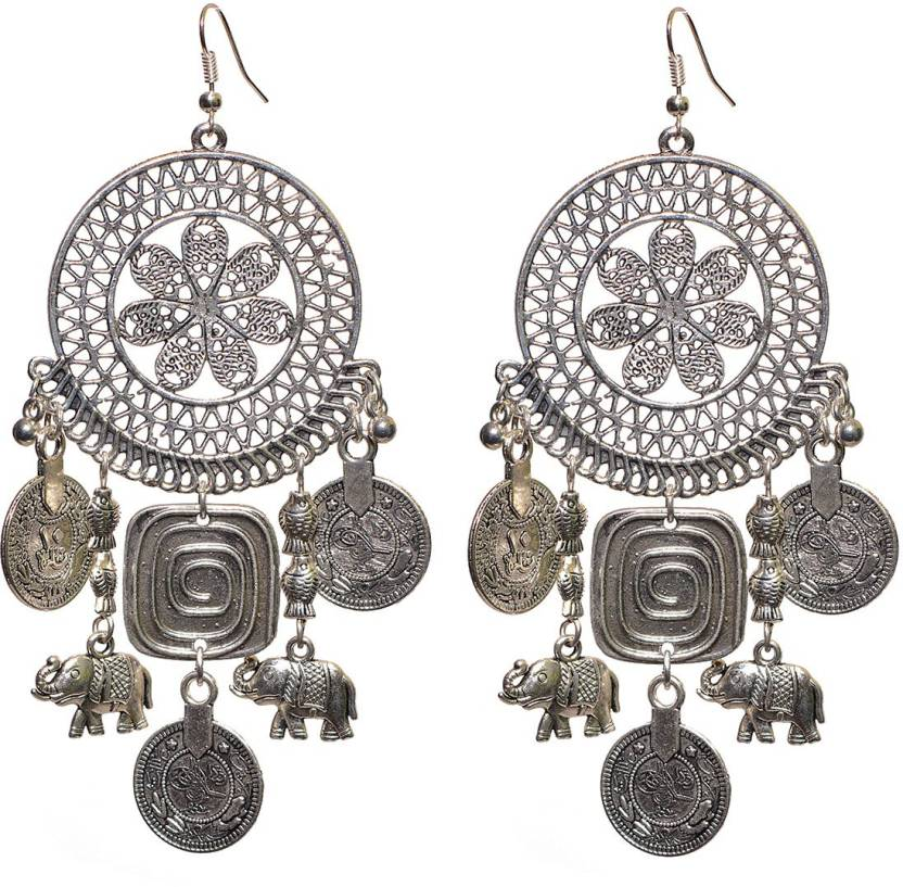 Aamoddhini Stylish Ager Silver Ethnic Banjara Boho German Br Metal Earrings For Women And