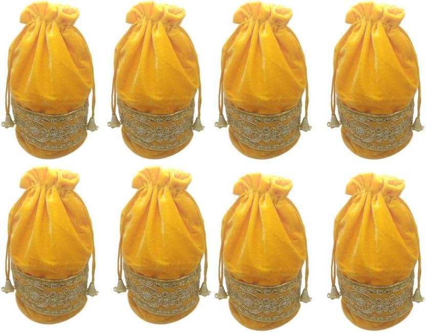 Fashblush Velvet Yellow And Golden Return Gift Shagun Wedding Party