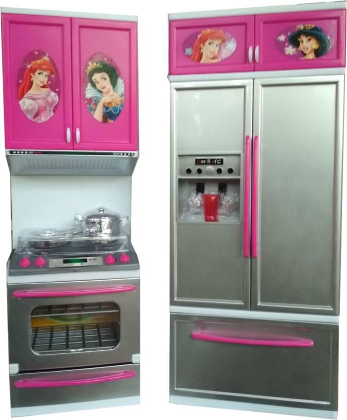 Vshine Modern Kitchen Playset Princess For Girls With Refrigerator