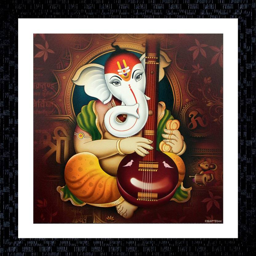 Janki Ganesh Ji Taxture Fiber Glass Wall Painting Canvas Painting