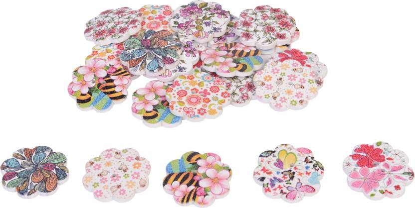 Vardhman Buttons Printed Wooden Big Flower Shape 22 Pcs Size 4 Cm