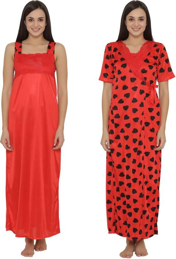 Clovia Women s Nighty with Robe - Buy Clovia Women s Nighty with ... 8907699e4