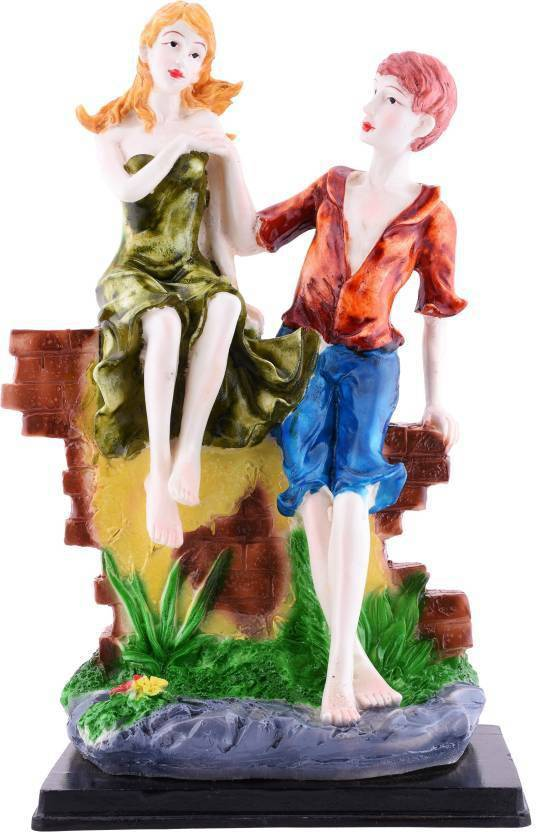 Touch India Valentine Romantic Love Couple Sitting On Wall In Marble Look Statue Home Decoration Gift