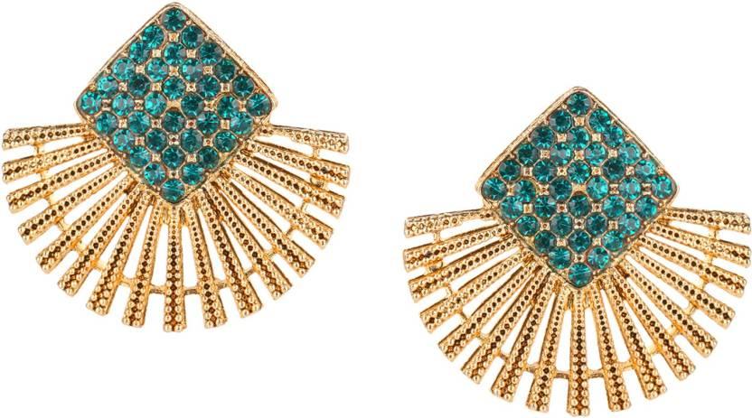 7509d030f9f Parna Yellow Gold Plated Fashion Designer Diamond Alloy Stud Earring