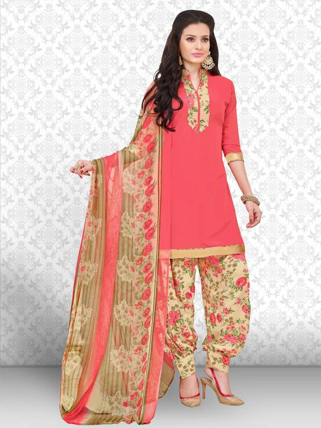 Divastri Crepe Floral Print, Solid, Printed Salwar Suit Dupatta Material  (Un-stitched)