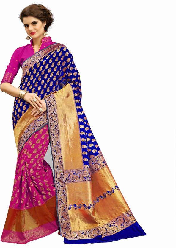 5899059a71 Buy Rudra Fashion Woven Bollywood Banarasi Silk Blue Sarees Online ...