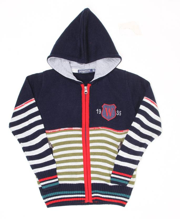 c799c2576 Wingsfield Striped Crew Neck Casual Boys Dark Blue Sweater - Buy Wingsfield  Striped Crew Neck Casual Boys Dark Blue Sweater Online at Best Prices in  India ...