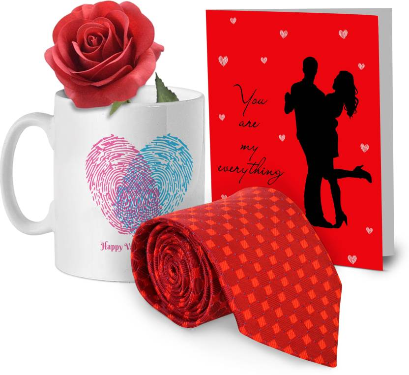 a8d23a019664 Tied Ribbons Printed Coffee Mug with Men's Tie, Greeting Card and  Artificial Red Rose Valentine Special Gifts for Him Boyfriend Husband Hubby  Mug Gift Set