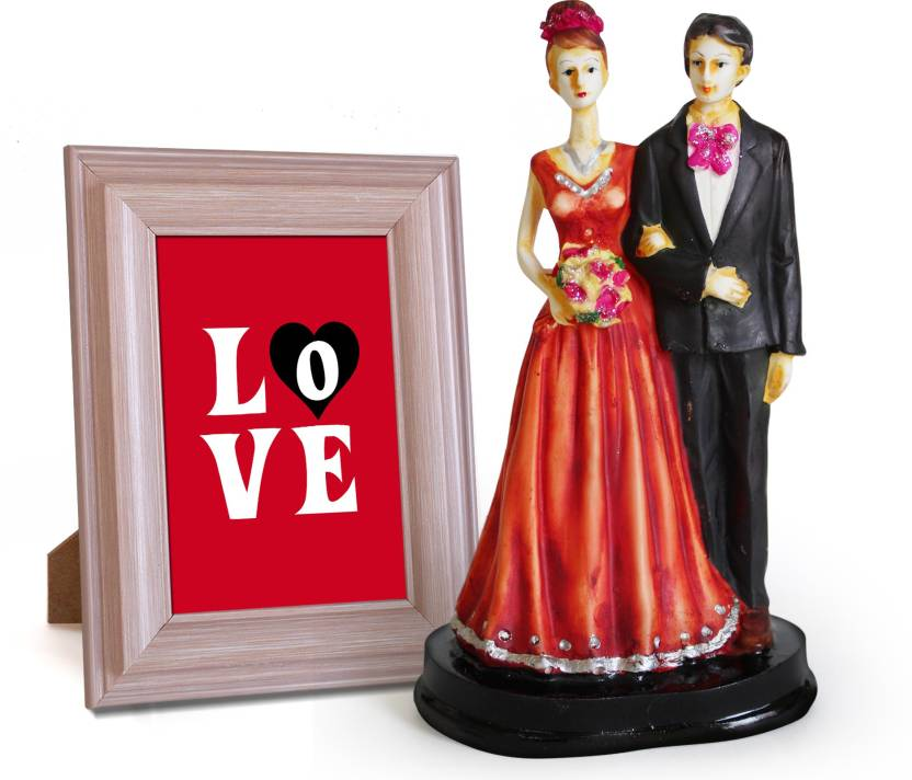 Tied Ribbons Couple Showpiece with Quoted Wooden Photo Frame ...