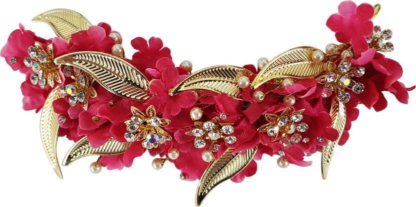 85fc4b65ecf Kabello Wedding Hair Accessories Flowers For Bun Making Hair Gajra Hair Clip,  Head Band (Pink, Gold)