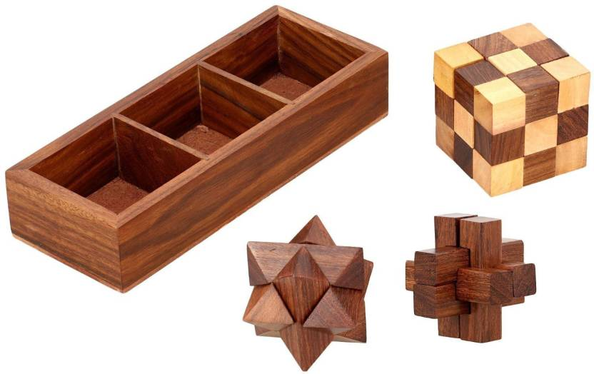 Woodcart H At Ndmade Wooden Puzzle Adult Snake Cube 6 Pieces Star 6