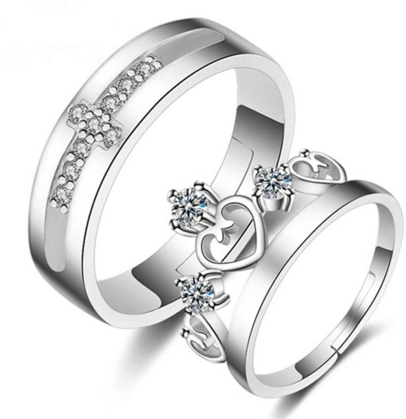 d271378b5 DCJEWELS King & Queen Adjustable Couple Love Rings Sterling Silver Swarovski  Zirconia 24K White Gold Plated Ring Set Price in India - Buy DCJEWELS King  ...