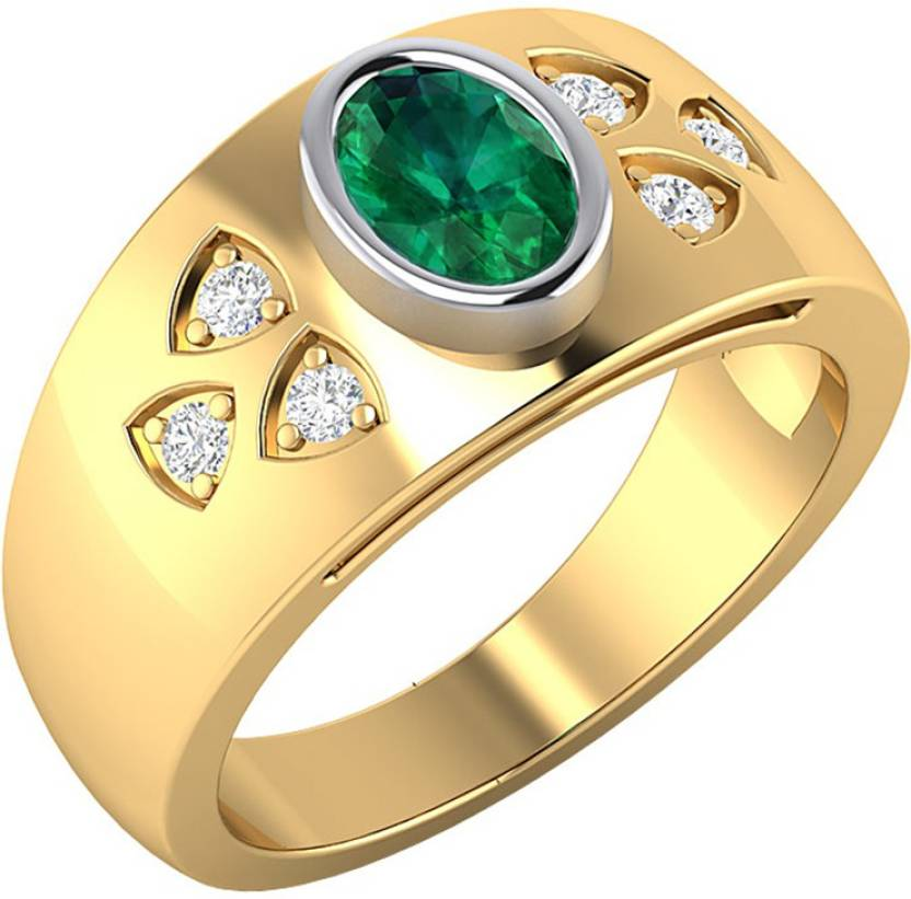 Voylla Gold Plated Sterling Silver Ring For Men With Green Stone