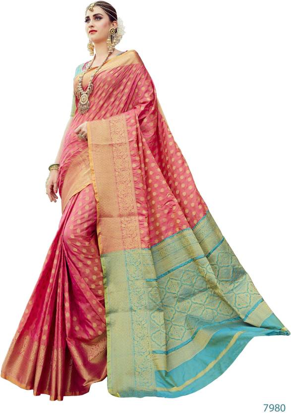 1ac95a93c0103 Buy EthnicJunction Woven Banarasi Silk Pink Sarees Online   Best ...