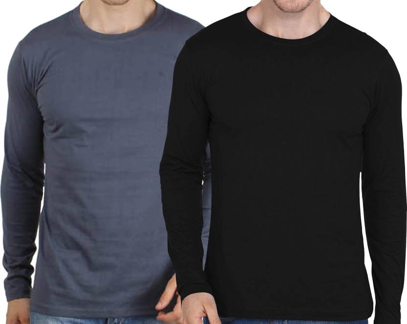 e31983751 BROWN SUGAR Solid Men Round Neck Black, Grey T-Shirt - Buy Black ...