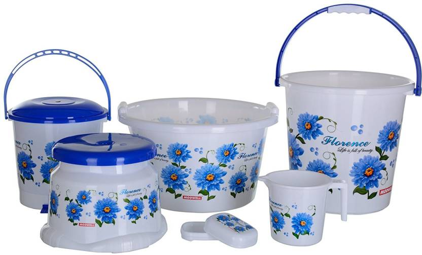 Rudraent Modwell Plastic Bathroom Set Blue Pack Of 6 20 L Bucket
