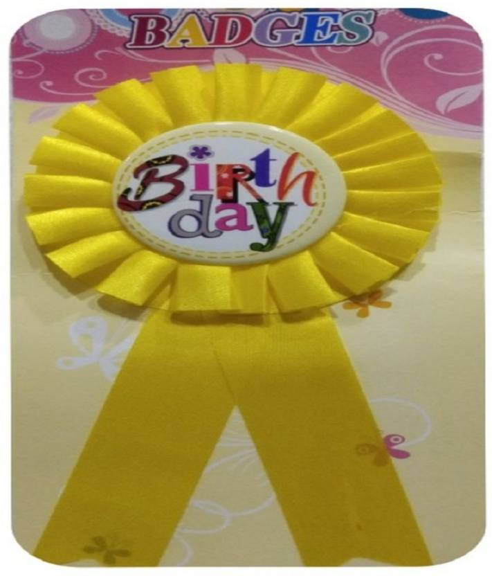 Shreeji Decoration Yellow Birthday Badge - 20 g Price in