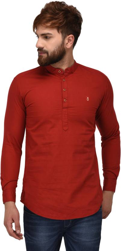 Yo Republic Striped Men's Straight Kurta  (Maroon)