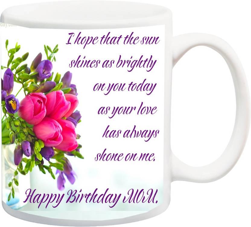 MEYOU Gift For Mother On Birthday HappyBirthday Mom IZ17JPMU 973 Printed Ceramic Mug 325 Ml