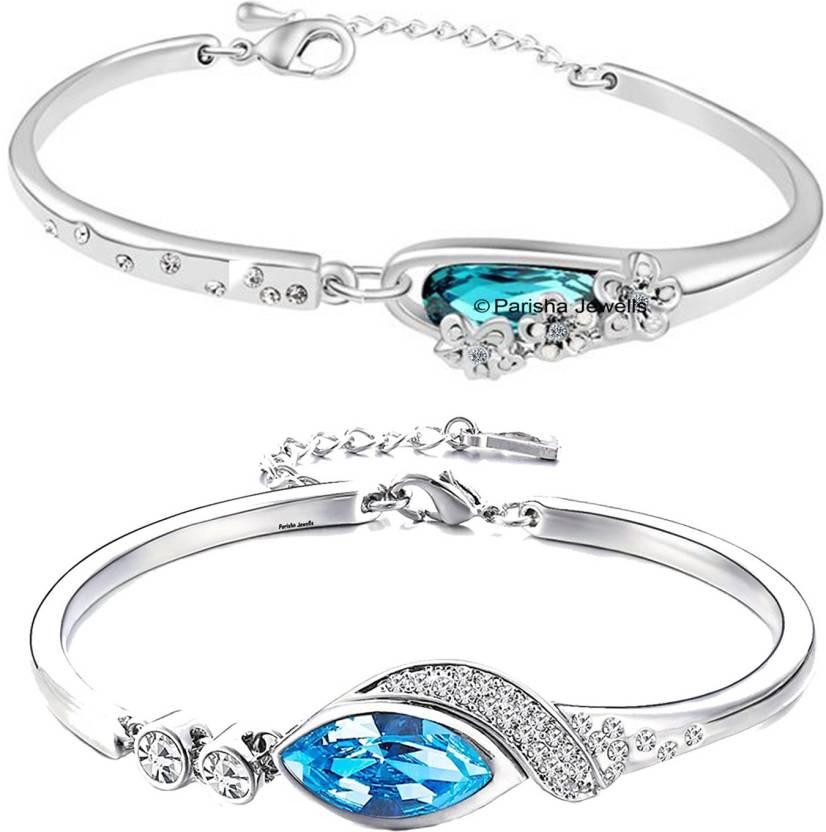 7981d5c54067fd Parisha Alloy Crystal Rhodium Bracelet Set Price in India - Buy ...