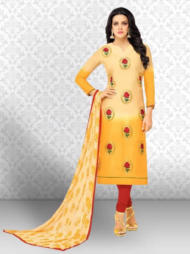 fa6982c2cd Divastri Chanderi Cotton Embroidered Salwar Suit Material (Un-stitched)
