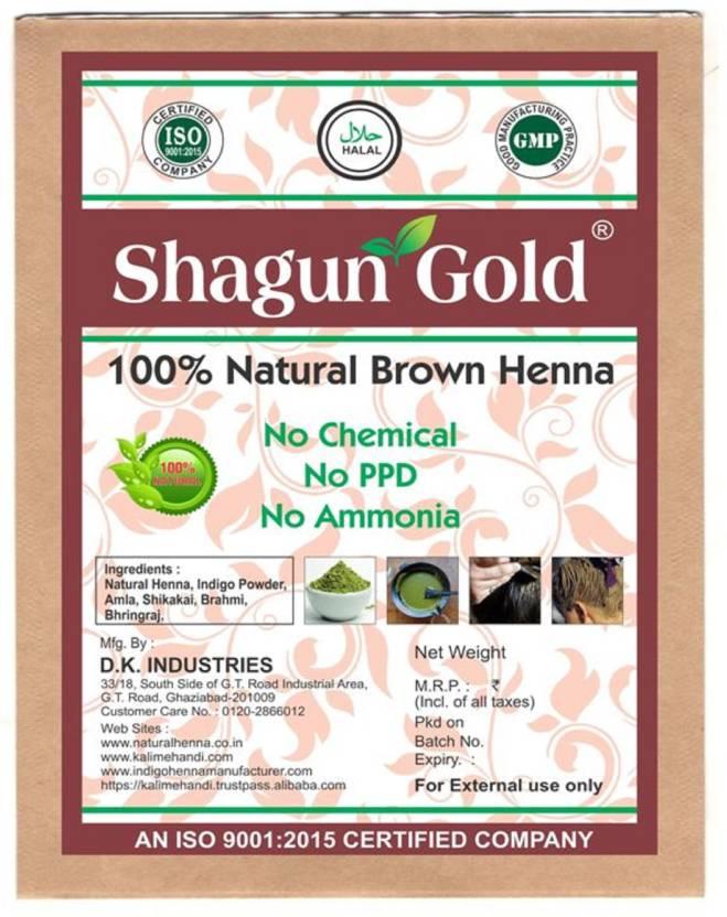 Shagun Gold 100 Natural Henna Brown Semi Permanent Hair Color