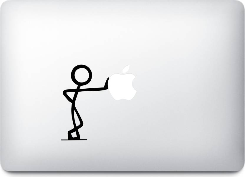 Presgraphics Stick Figure Pushing Apple Logo Decal Vinyl