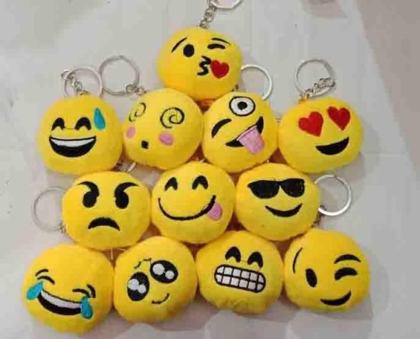 Fashion Mystery Round Emoji Face Plush Soft Cushion Keychain Return
