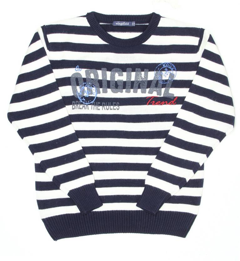 ab3b2985b Wingsfield Striped Round Neck Casual Boys Blue, White Sweater - Buy  Wingsfield Striped Round Neck Casual Boys Blue, White Sweater Online at Best  Prices in ...