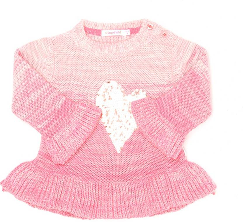 b4a5a5d4c0d8 Wingsfield Self Design Round Neck Casual Baby Girls Pink Sweater ...